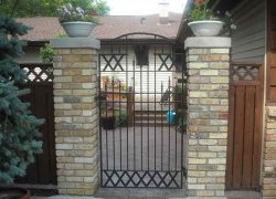 Security Gate with Brick Pillars