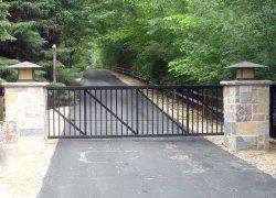 Security Gate with Brick Pillars